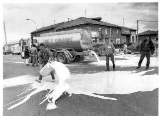 Movilización ganaderos 1990 - Puente Villarente
