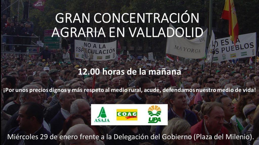 Valladolid inicia este miércoles 29 de enero, las movilizaciones en defensa del sector agrario