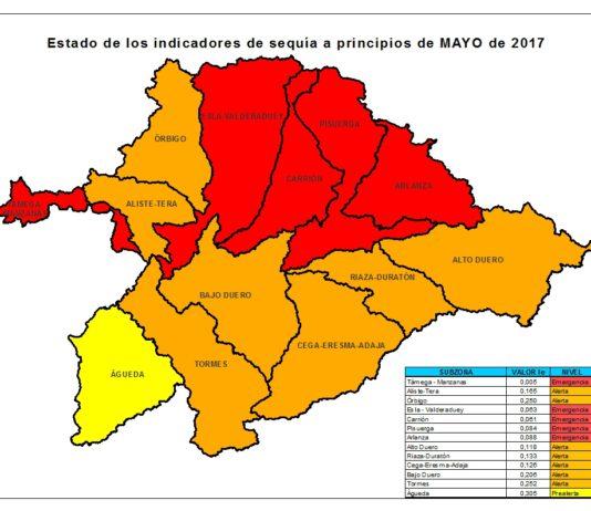 Nuevo mapa de los indicadores de sequía. En la cuenca del Duero se amplían las zonas en nivel de emergencia